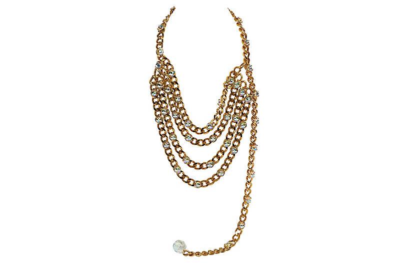 Chanel 4 Strand Rhinestone Necklace/Belt