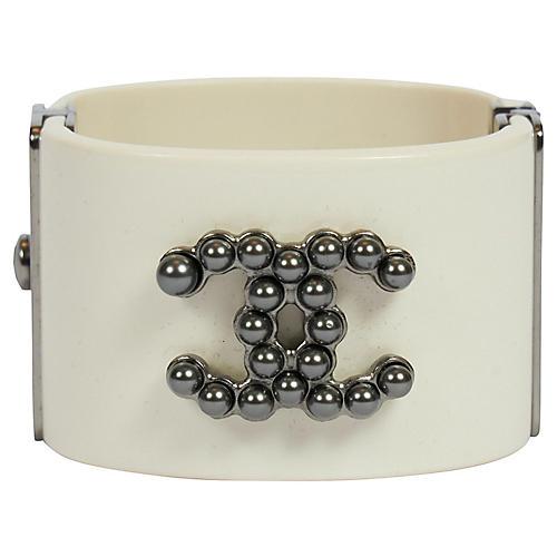 Chanel Off White Lucite Pearl Logo Cuff