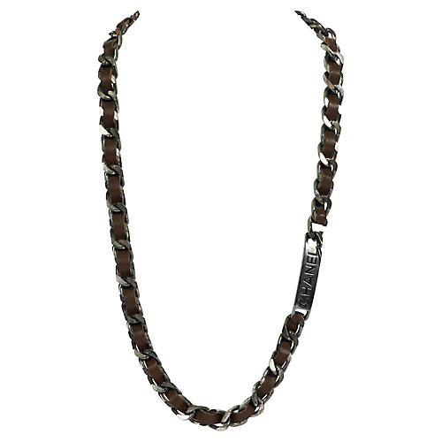 Chanel Dark Metal & Brown Leather Chain