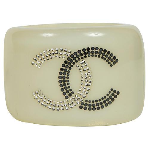 Chanel White Inlay Lucite Logo Cuff