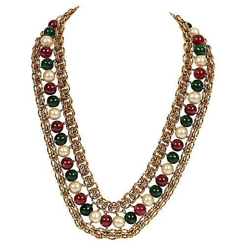 Chanel 70s Rare Gripoix Gold Necklace