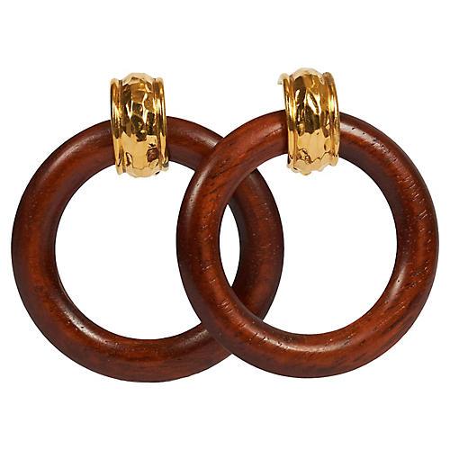 Chanel Wood & Gold Hoop Earrings