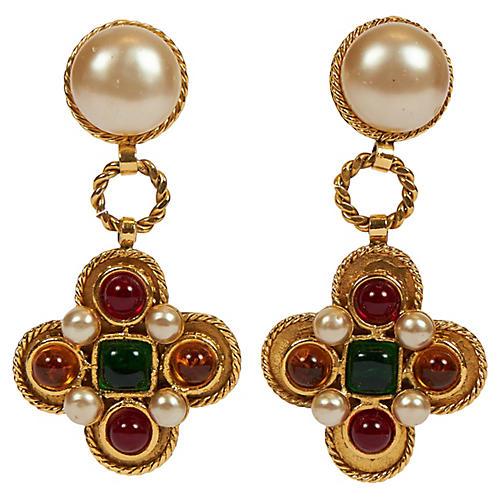 Chanel Gripoix Maltese Cross Earrings