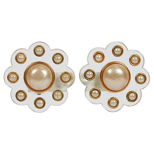 Chanel Rare Lucite Pearl Flower Earrings