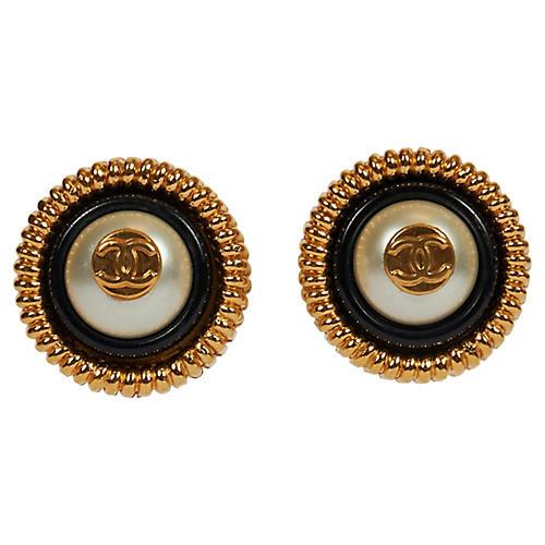 Chanel Black/White Logo Clip Earrings