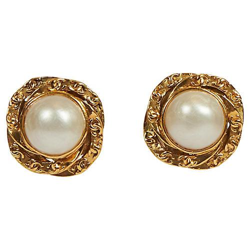 Chanel Large Faux Pearl Clip Earrings