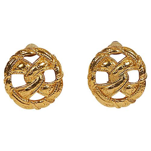 Chanel 70s Knot Gold Clip Earrings