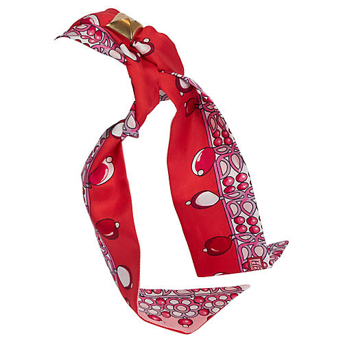 Hermes Red Pink Pearls Silk Twilly Scarf