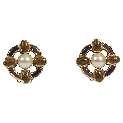 Chanel Enamel Maltese Cross Earrings