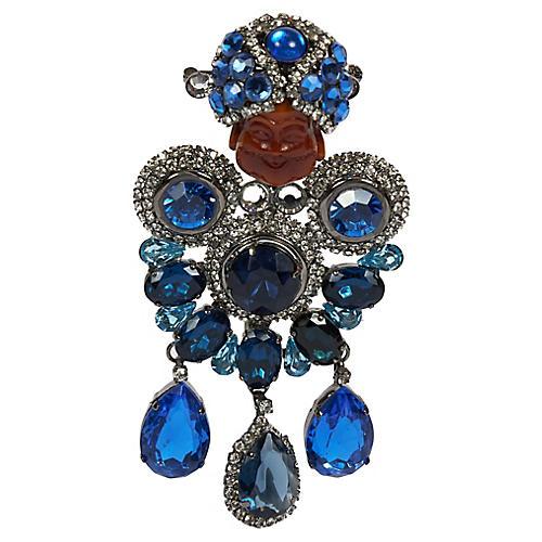 Vrba One Of A Kind Blue Maharaja Brooch