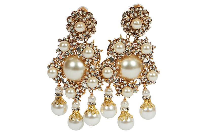 Vrba Woven Pearls Chandelier Earrings