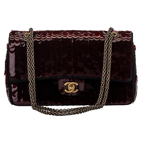 Chanel Shangai Burgundy Sequins Flap