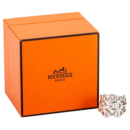 Hermes Sterling Chain D'Ancre Ring