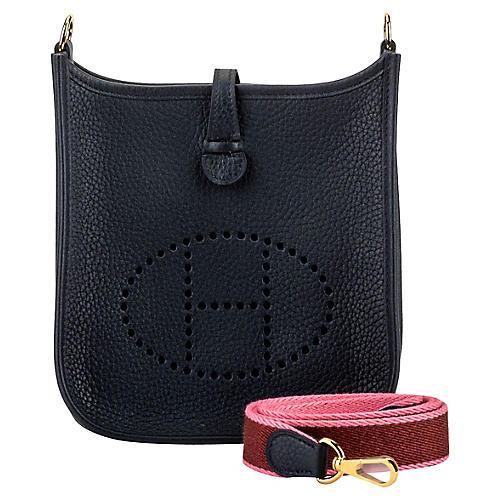 Hermès Mini Evelyne Blue Pink Gold