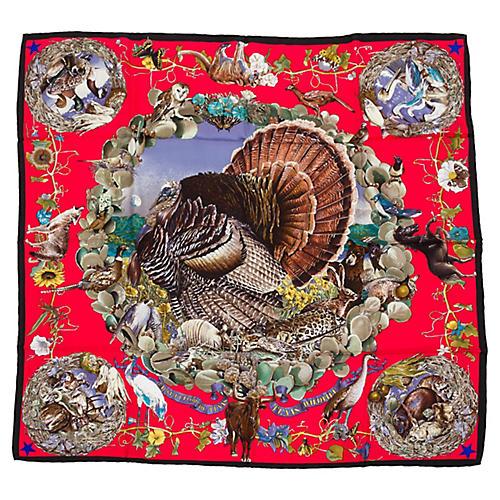 Hermès Texas Wildlife Red Scarf, Oliver