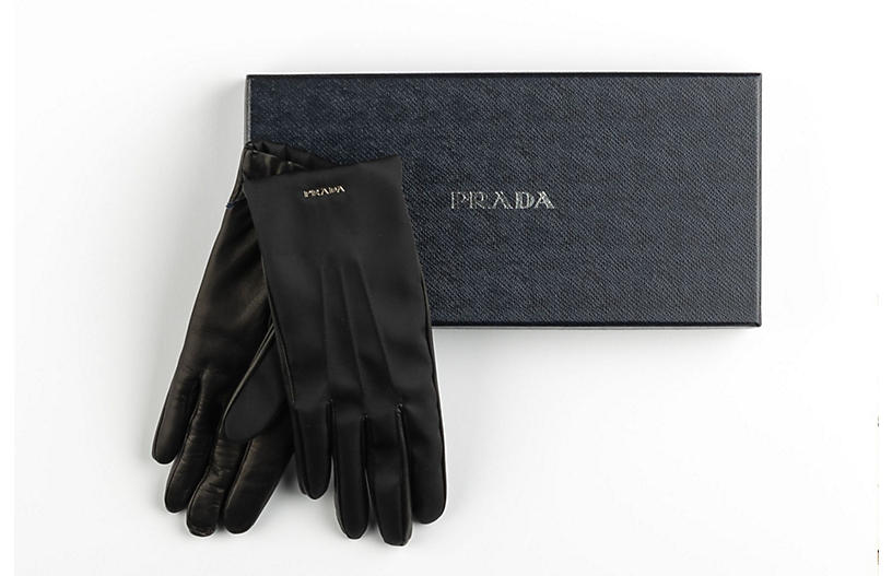 Prada Black Leather Ladies Gloves