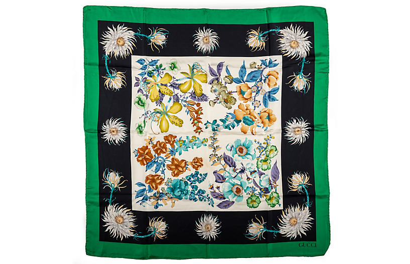 Gucci Flower Silk Scarf With Green Trim