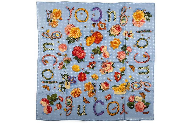 Gucci Blue Flowers Silk Scarf Textured