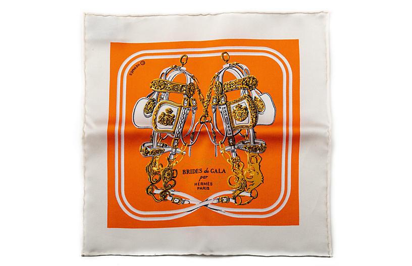 Hermès Orange Mini Silk Pochette Brides