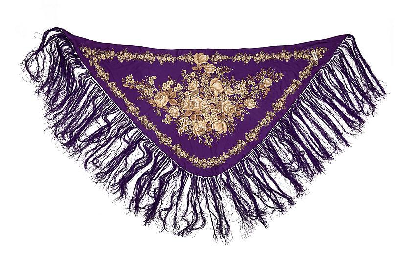 Gucci Purple Silk Fringe Shawl