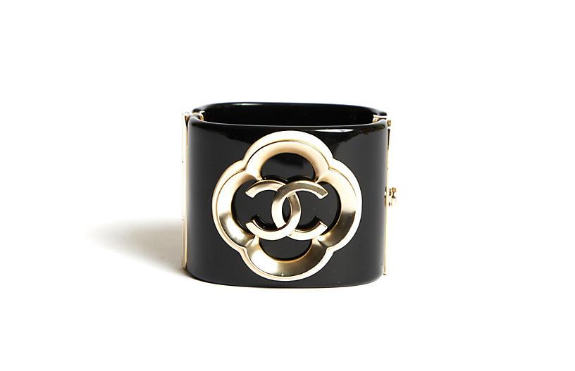 Chanel Black Lucite Clover CC Cuff