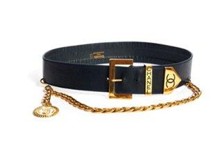 1980s navy blue vintage belt with gold buckle