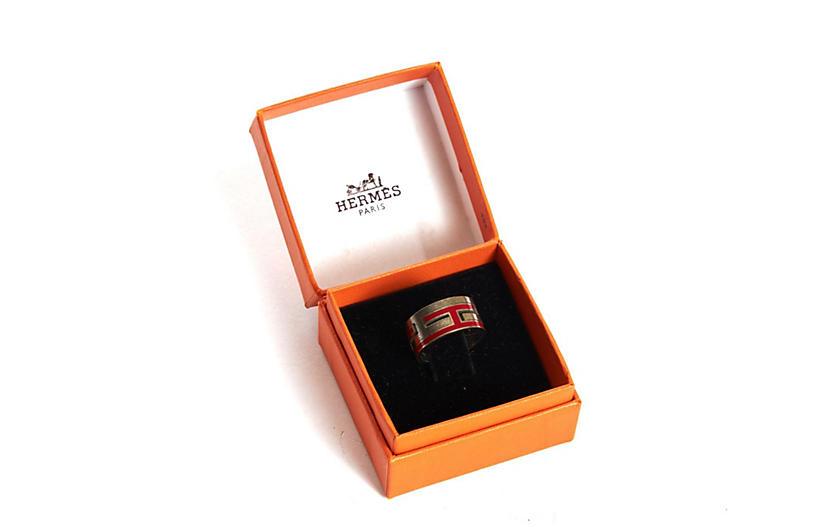 Hermès Red Enamel & Sterling Silver Ring