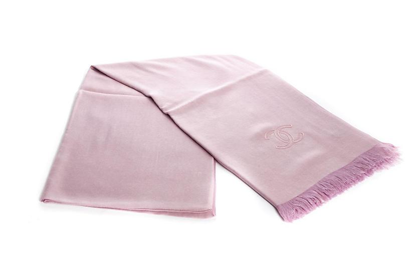 Chanel Pink Cashmere Silk Shawl
