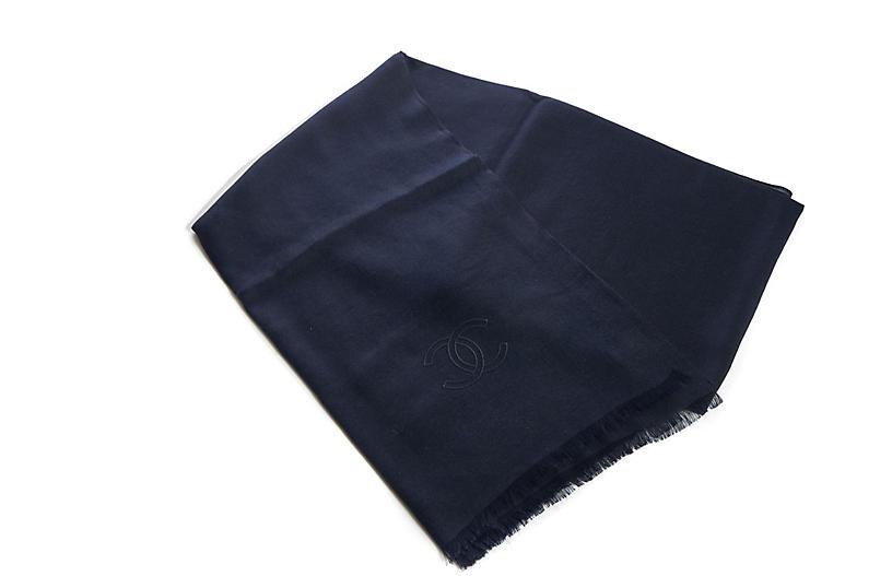 Chanel Navy Cashmere Silk Shawl