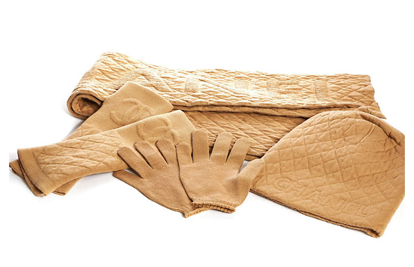Chanel New Cashmere Hat/Gloves/Scarf Set
