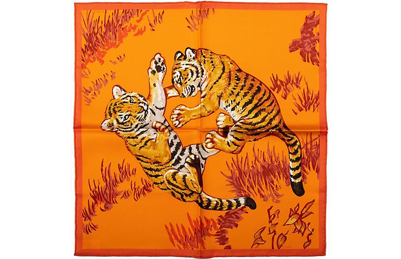 Hermès Orange Tiger Cubs Silk Gavroche