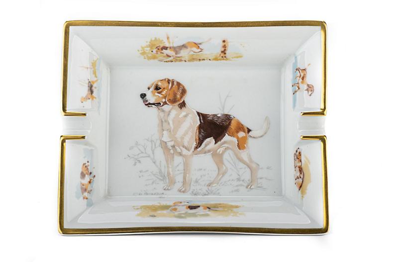 Hermes Hunting Dog Porcelain Ashtray