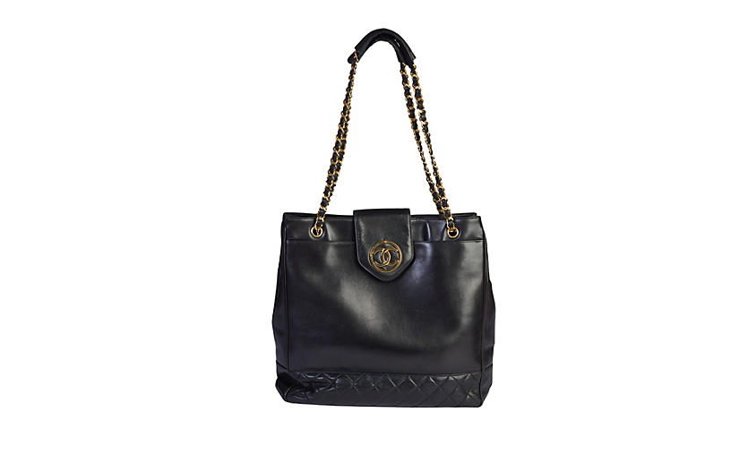 Chanel 90s Black Large Shoulder Bag