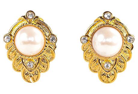 1980s Kenneth Jay Lane Pearl Earrings