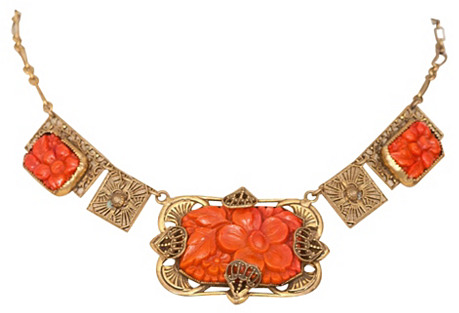 1950s Floral Coral Necklace