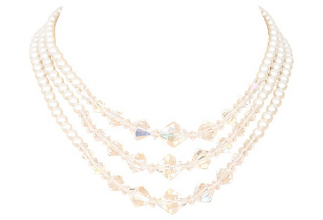 1950s Pearl & Crystal Strand Necklace