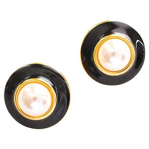 Faux-Pearl Button Earrings