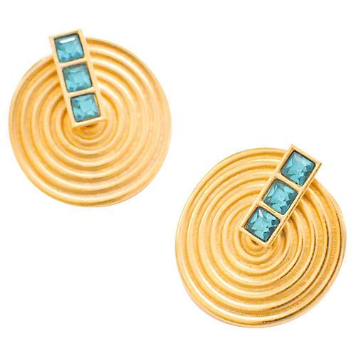 YSL Green Disc Earrings