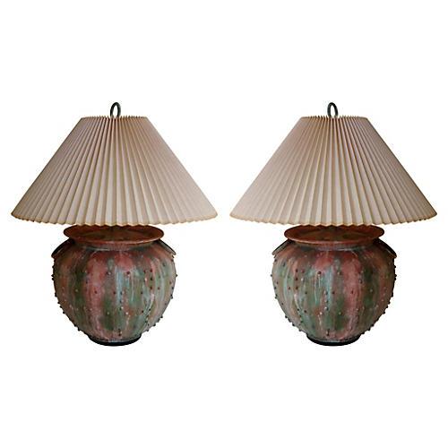 Oversize Verdigris Lamps, Pair