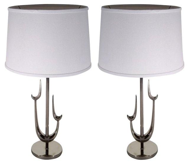 Chrome  Sculptural Lamps, Pair