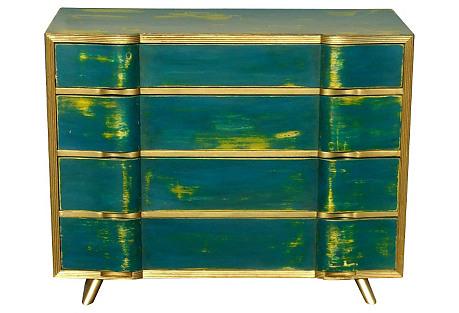 Midcentury Distressed Turquoise Dresser