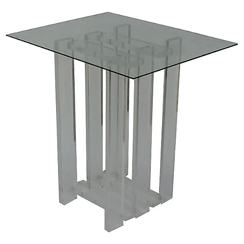 Lucite Stacking Pedestal Table