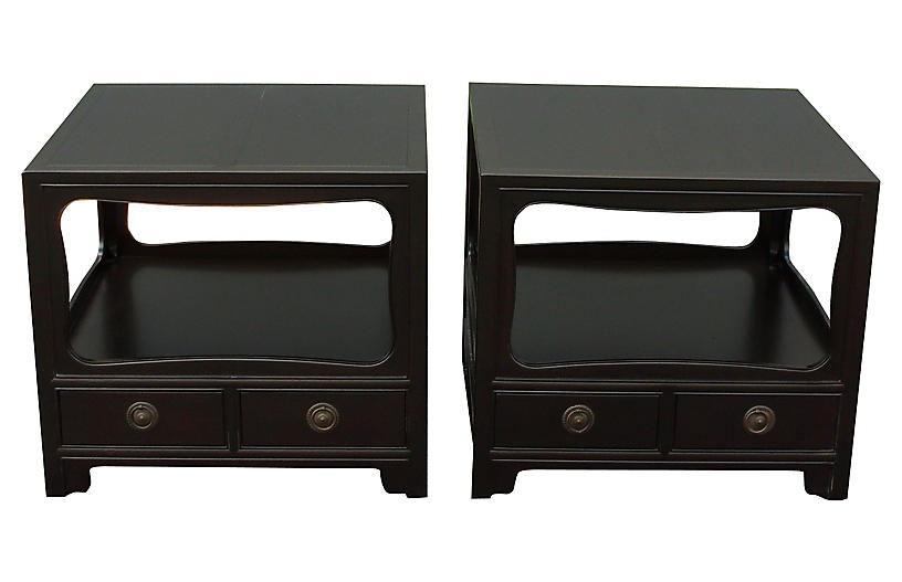 Baker Espresso Nightstands, Pair