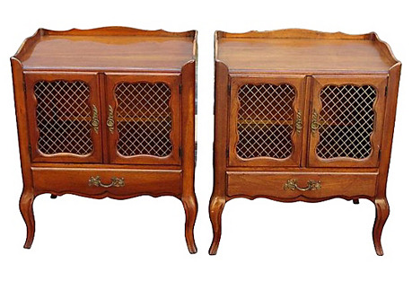 French-Style Nightstands, Pair