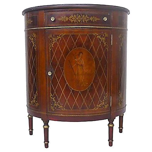 1940s Mahogany Demilune Console Cabinet