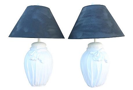 John Dickinson-Style Plaster Lamps, Pair