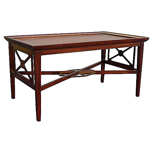 Rectangular Leather-Top Coffee Table