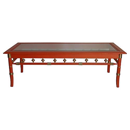 1960s Orange Lacquer Coffee Table