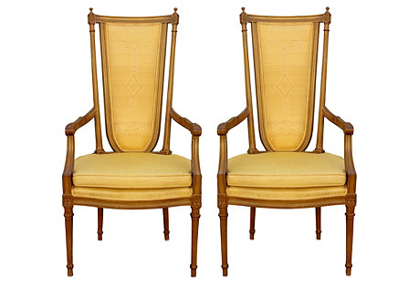 High-Back Ochre Armchairs, Pair