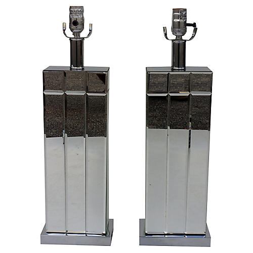 Chrome & Mirror Table Lamps, Pair